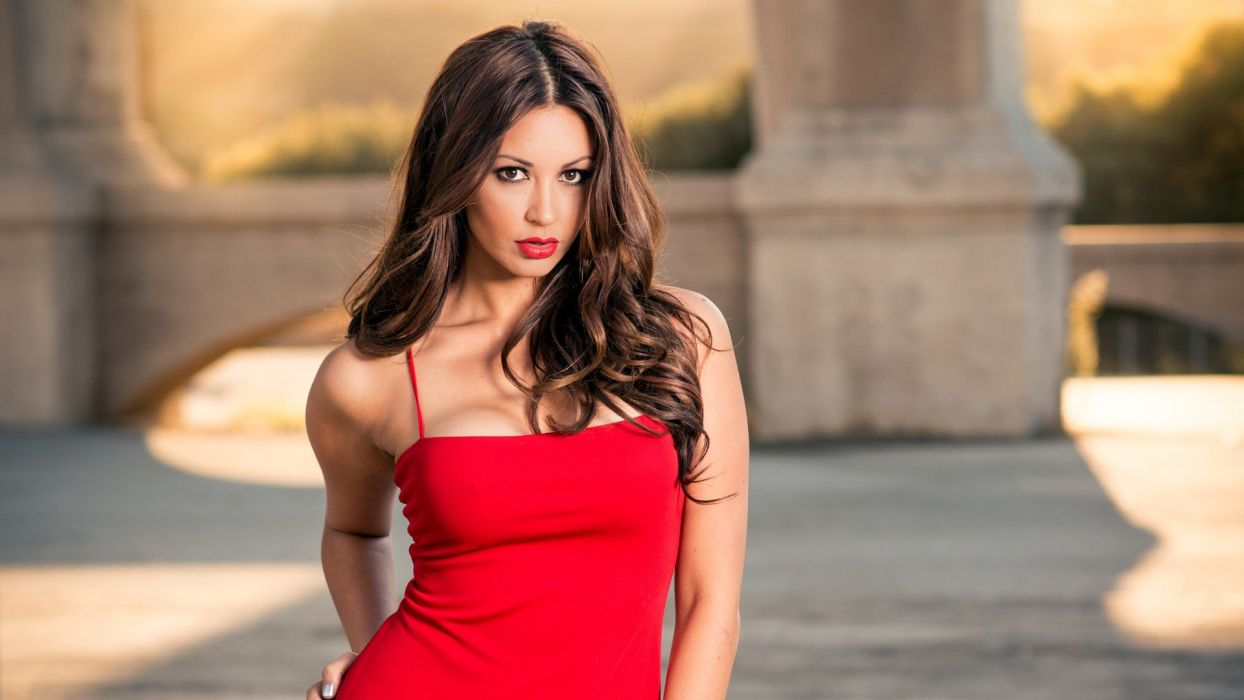 brunettes boobs women lips skirts Melyssa Grace wallpaper
