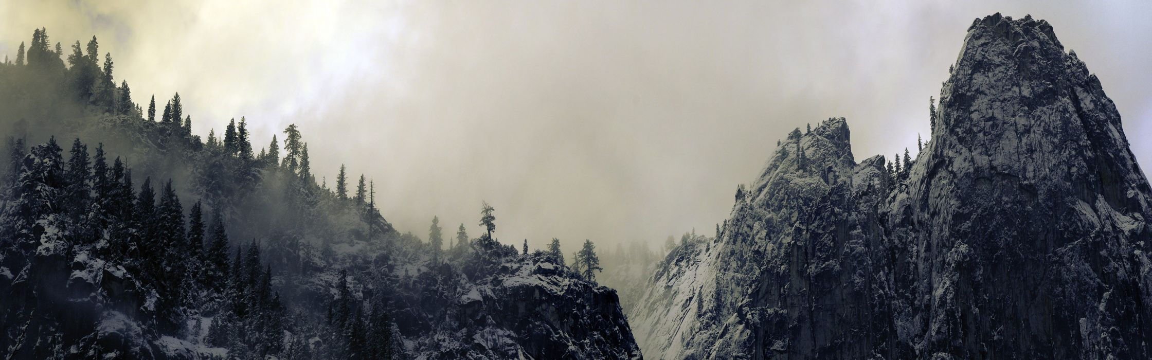landscapes snow trees California panorama snow landscapes Yosemite National Park wallpaper