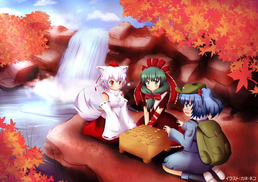 video games Touhou animal ears Inubashiri Momiji Kawashiro Nitori  Kagiyama Hina anime girls detached sleeves wallpaper