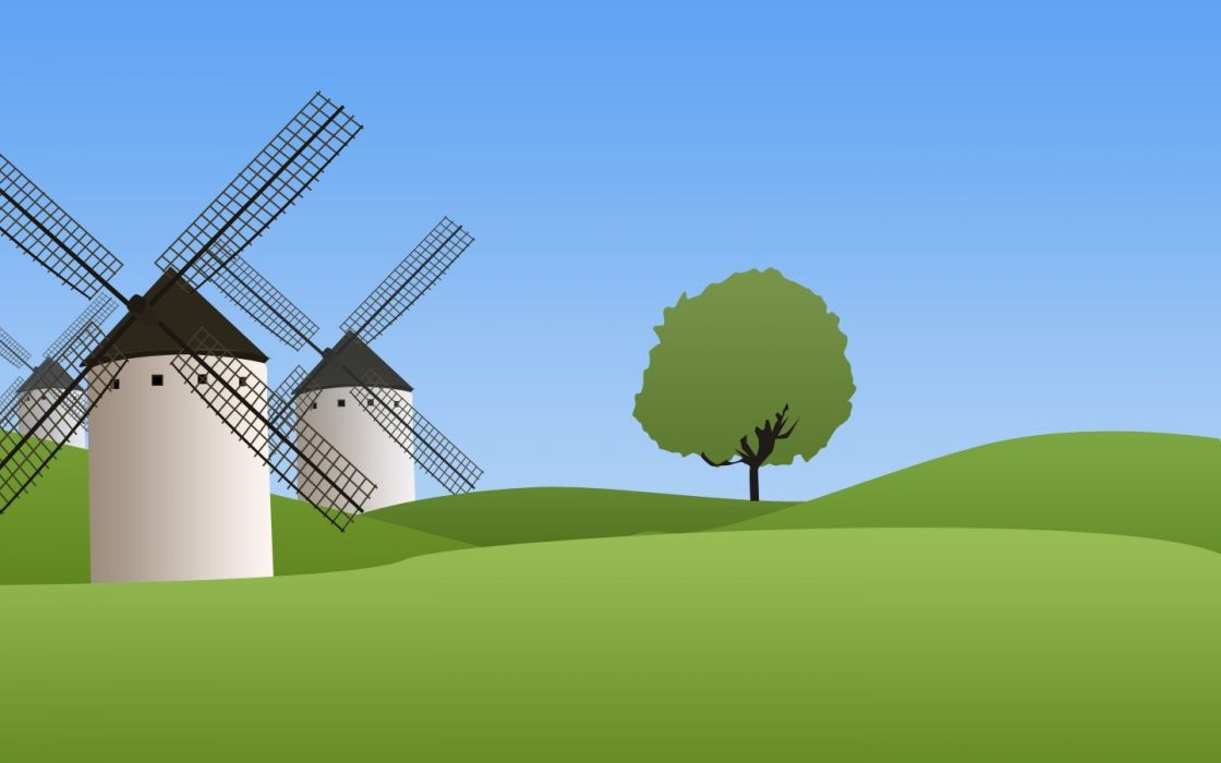 landscapes vectors windmills wallpaper