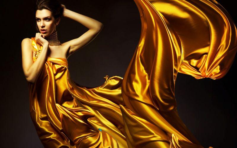 women fashion jewelry golden dress hair up fabric wallpaper