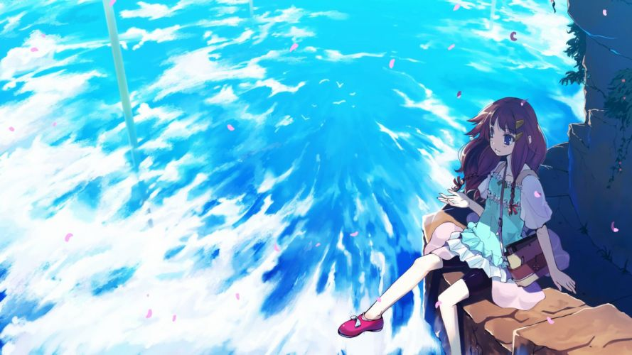clouds anime girls skies original characters wallpaper