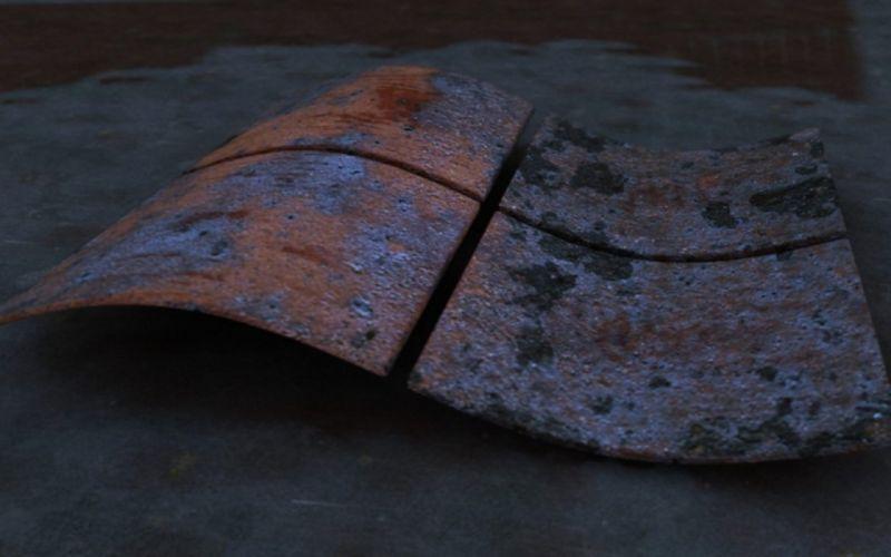 metal rust Microsoft Windows logos wallpaper