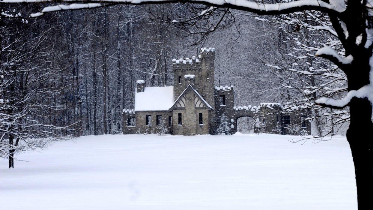 snow north Ohio castle Cleveland wallpaper