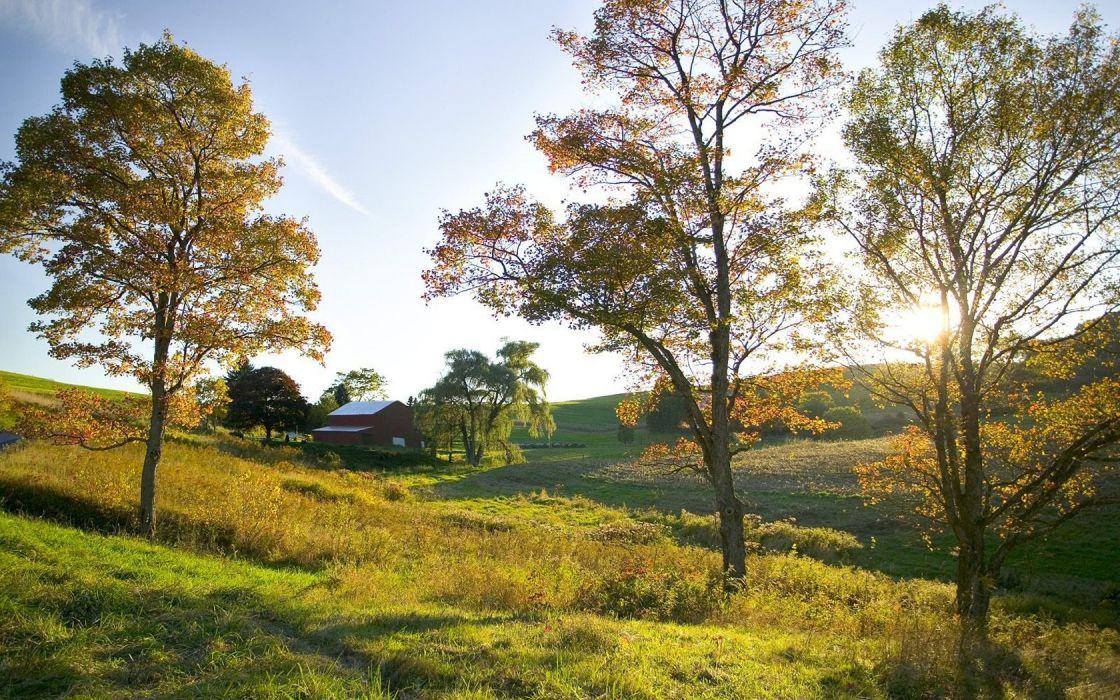 landscapes golden Ohio farm wallpaper