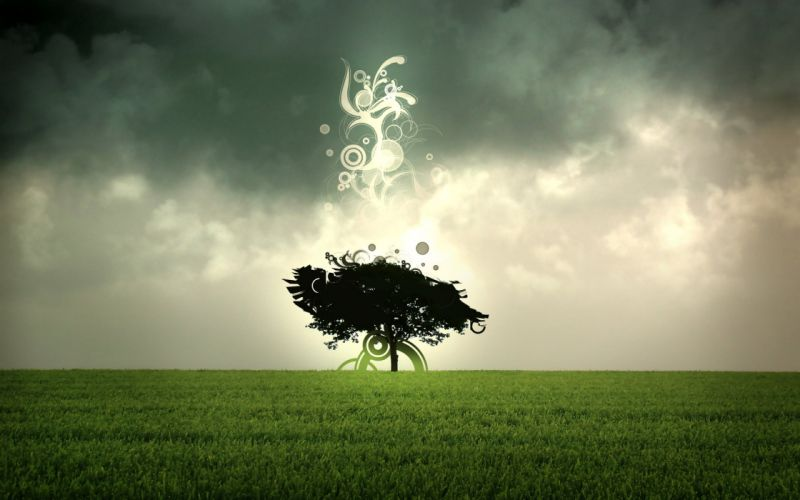 green abstract trees grass fields sacred wallpaper
