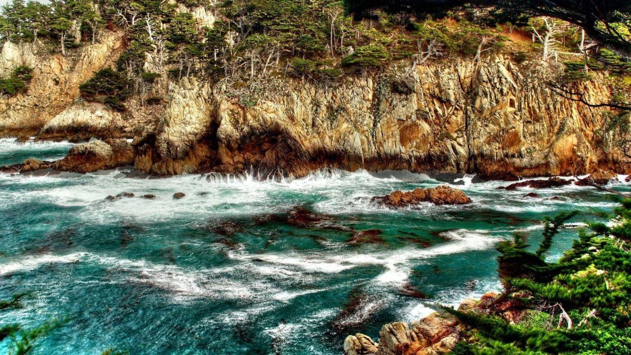 landscapes nature rocks sea wallpaper