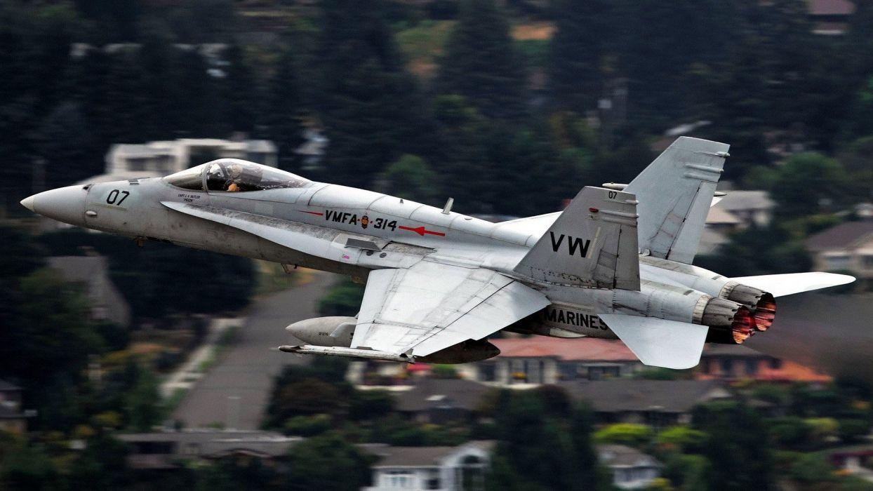 airplanes F-18 Hornet widescreen wallpaper