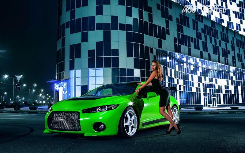 women cars green cars Mitsubishi Eclipse GT wallpaper