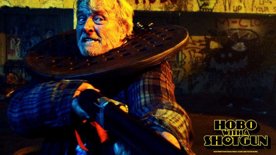 HOBO WITH A SHOTGUN action comedy thriller dark poster wallpaper