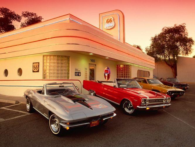 vintage cars restaurant old cars wallpaper