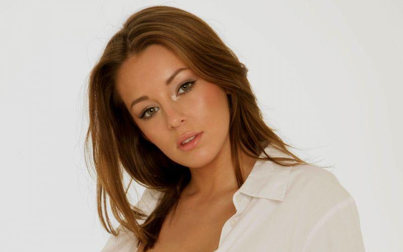 brunettes women models Keeley Hazell faces wallpaper