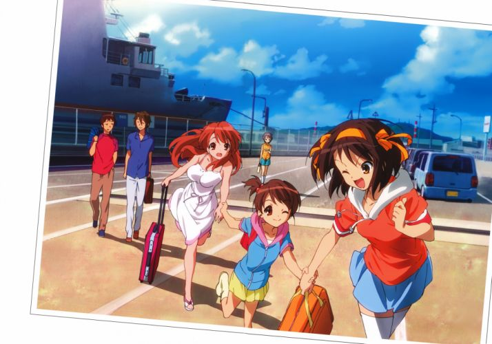 Asahina Mikuru Nagato Yuki The Melancholy of Haruhi Suzumiya Kyon anime itsuki Suzumiya Haruhi wallpaper