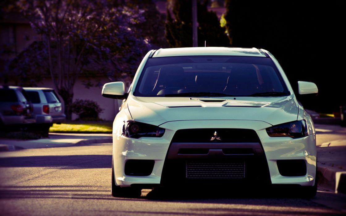streets cars summer Mitsubishi Lancer Evolution X wallpaper