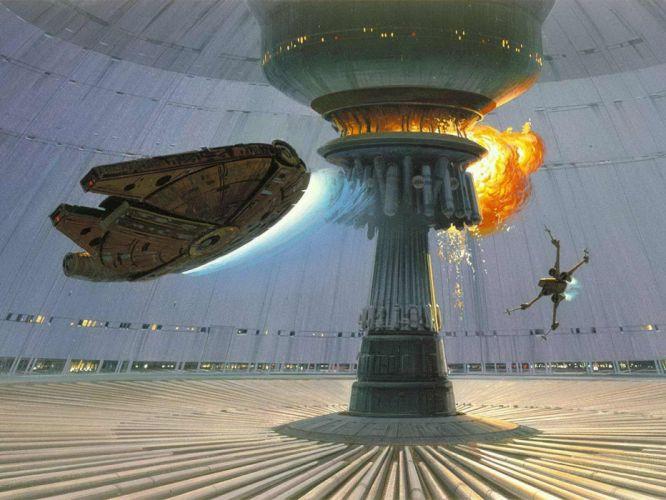 Star Wars explosions Death Star Millennium Falcon X-Wing concept art Ralph McQuarrie wallpaper
