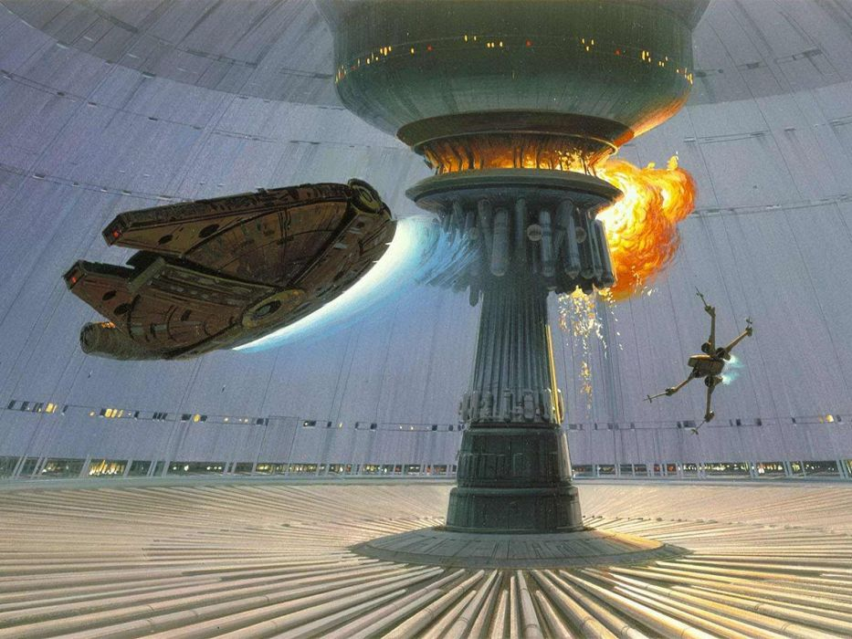 Star Wars explosions Death Star Millennium Falcon X-Wing concept art Ralph McQuarrie wallpaper