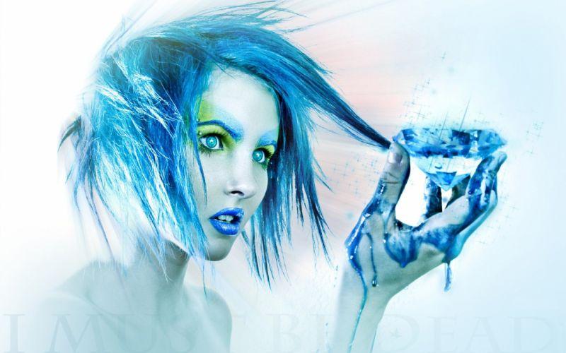 blue hair I Must Be Dead wallpaper