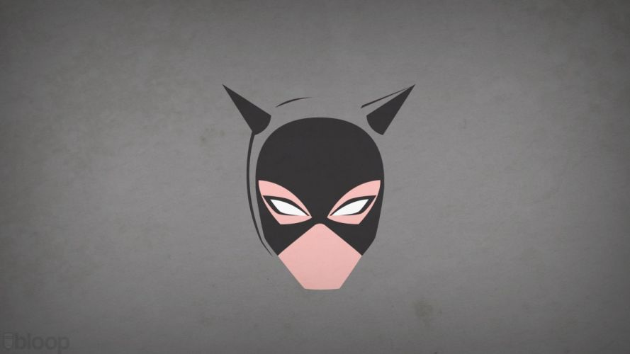 minimalistic DC Comics Catwoman grey background blo0p wallpaper