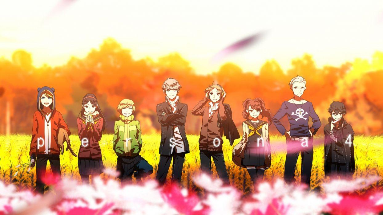 Persona series Persona 4 anime anime girls Hanamura Yosuke Narukami Yuu Satonaka Chie Shirogane Naoto Amagi Yukiko Kujikawa Rise Tatsumi Kanji Kuma (Persona 4) wallpaper