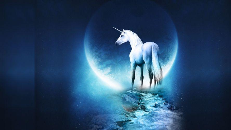 fantasy blue Moon unicorns moonlight digital art wallpaper