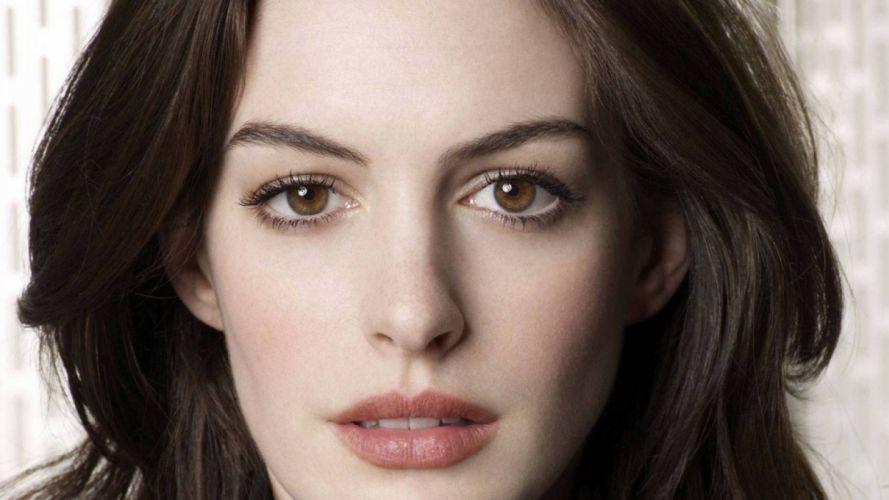 brunettes women Anne Hathaway actress brown eyes Academy Award Winner wallpaper