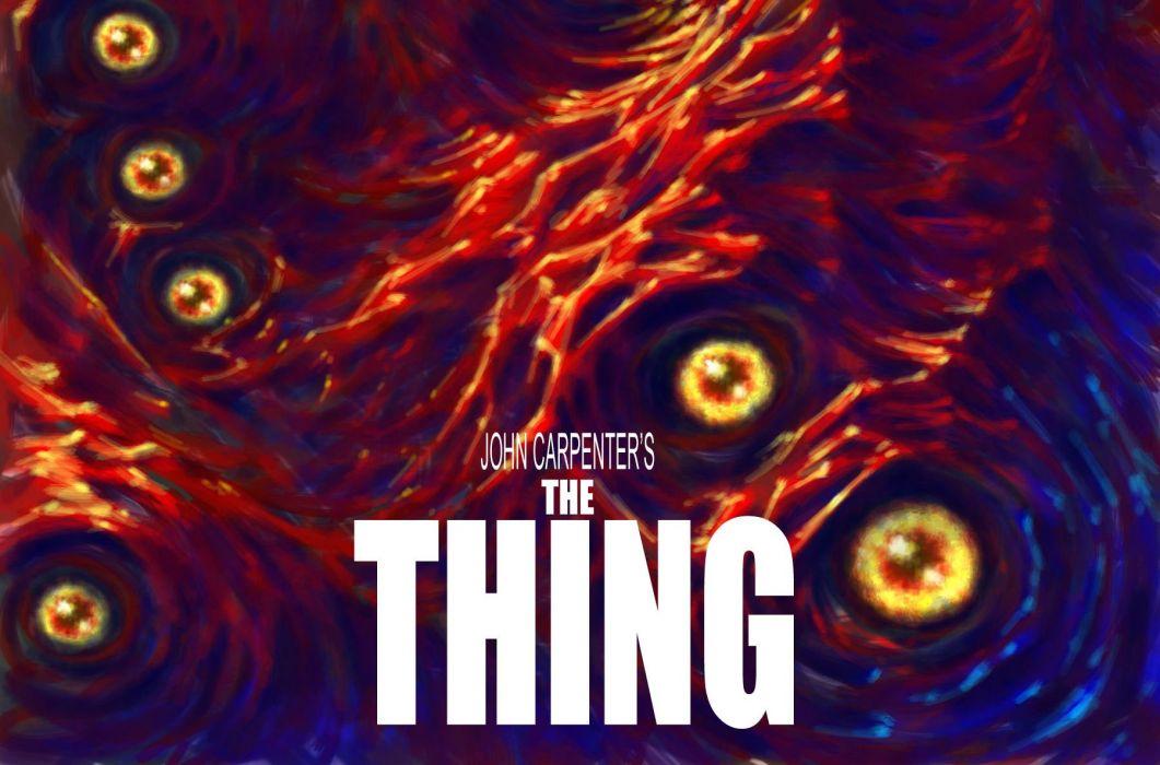 THE THING horror mystery thriller sci-fi dark monster alien poster k wallpaper