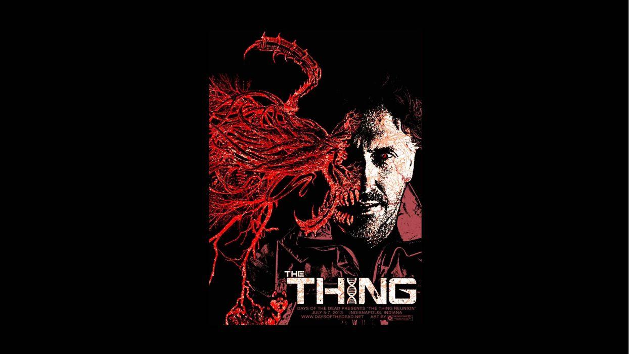 THE THING horror mystery thriller sci-fi monster poster wallpaper