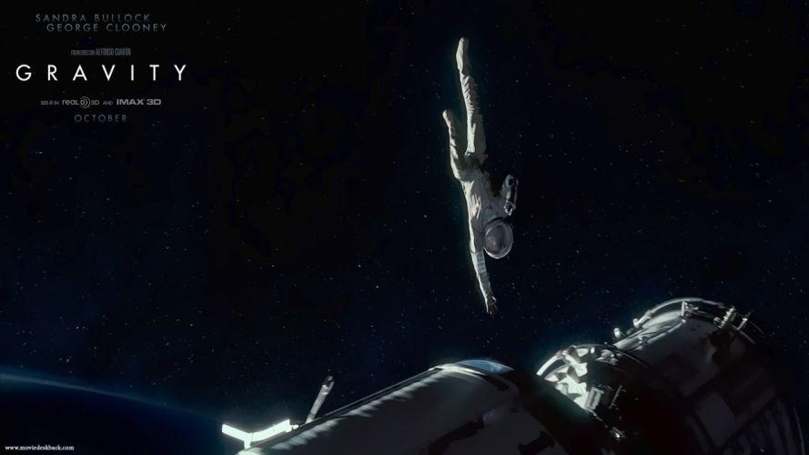 GRAVITY drama sci-fi thriller space astronaut spaceship poster 4h wallpaper