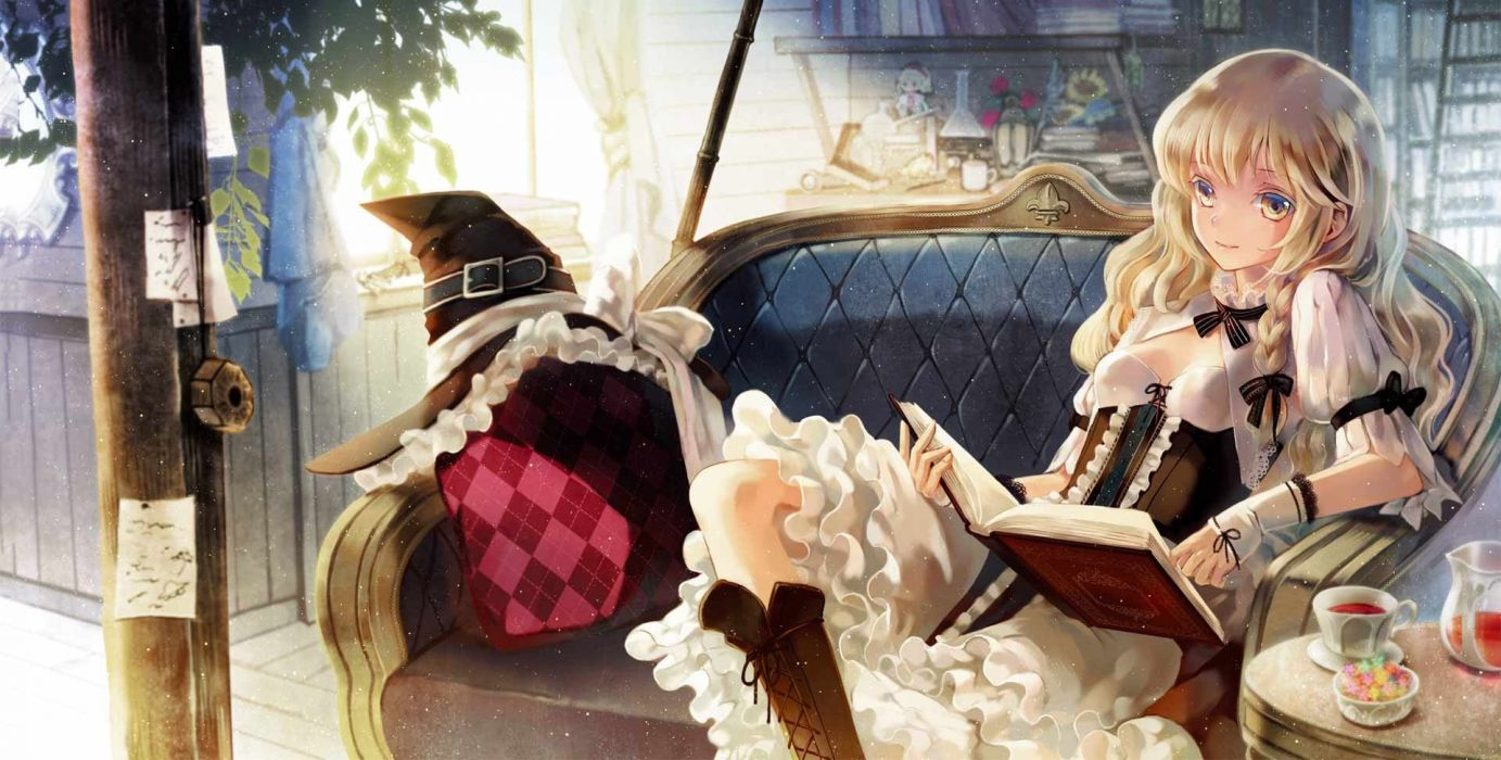 boots blondes video games Touhou couch dress indoors tea room reading cups long hair corset argyle pattern books yellow eyes pillows Kirisame Marisa smiling bows braids white dress hats anime girls Mini Hakkero detached sleeves witches hair ornaments bang wallpaper