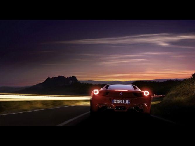 red night cars Ferrari 458 Italia wallpaper