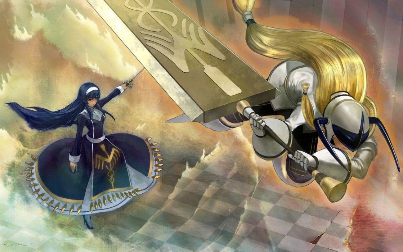 blondes dress long hair armor hair band swords wallpaper