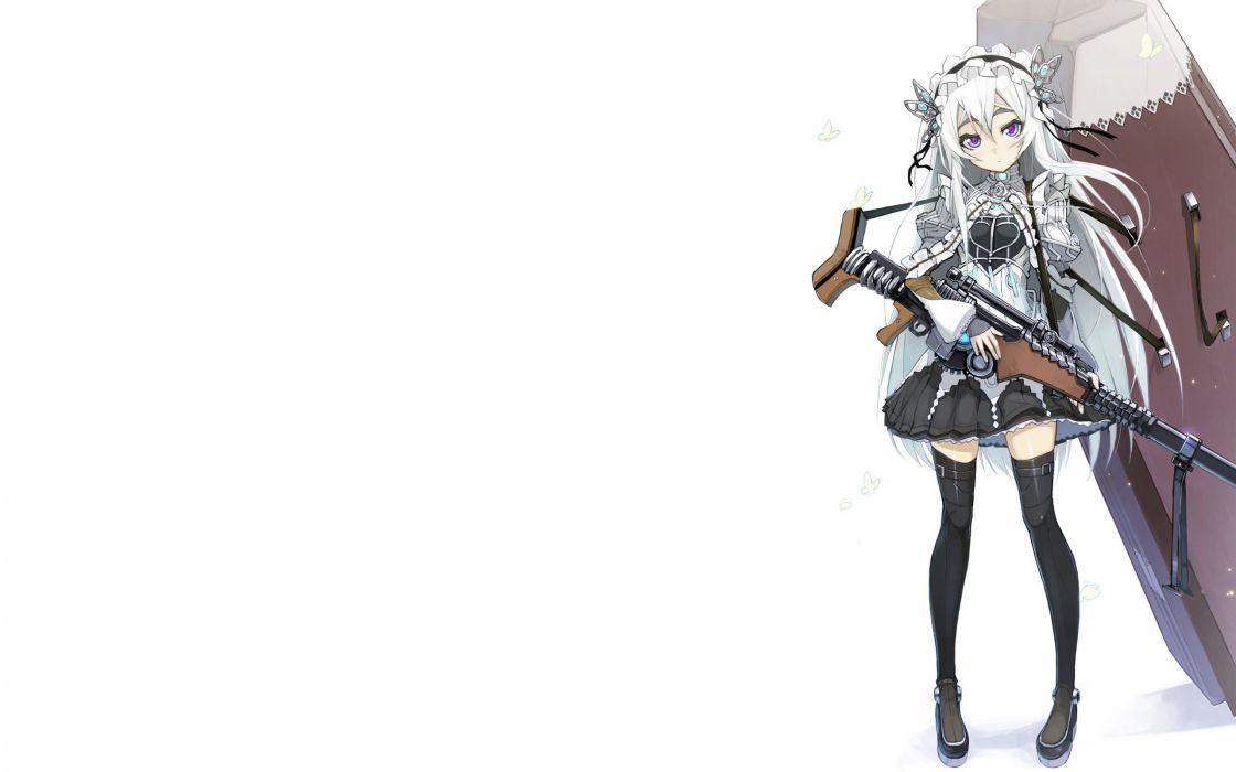 rifles guns dress long hair coffin white hair purple eyes anime girls wallpaper
