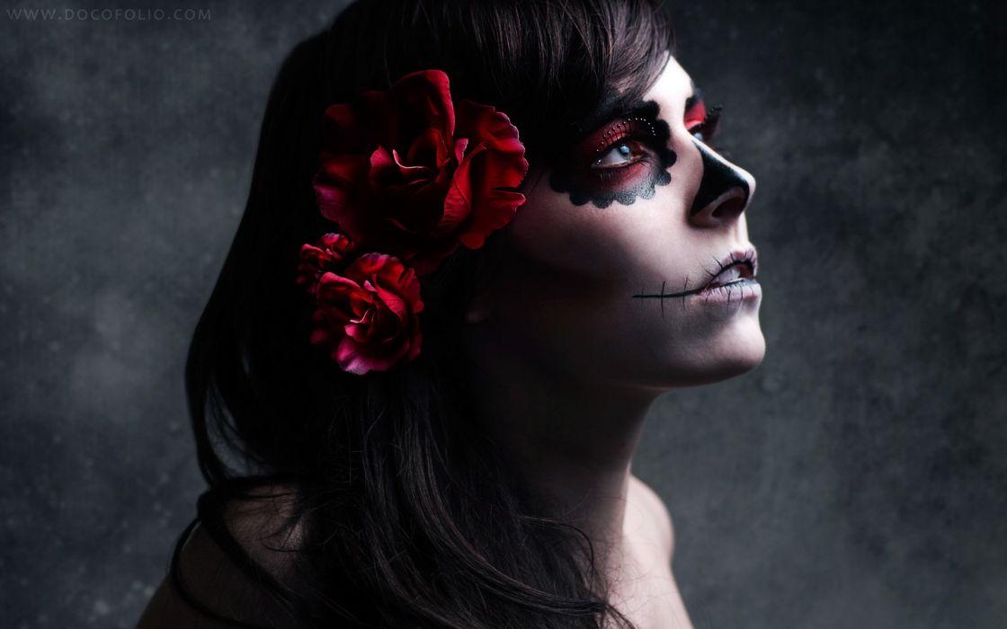 brunettes women skulls flowers roses sugar skulls wallpaper