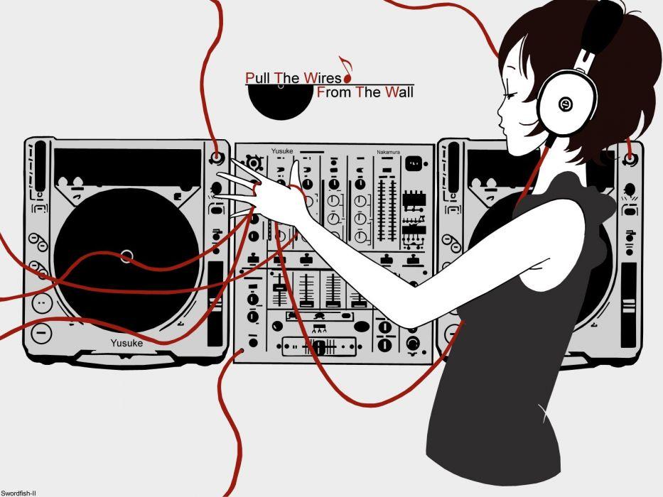 headphones stereo artwork anime wallpaper