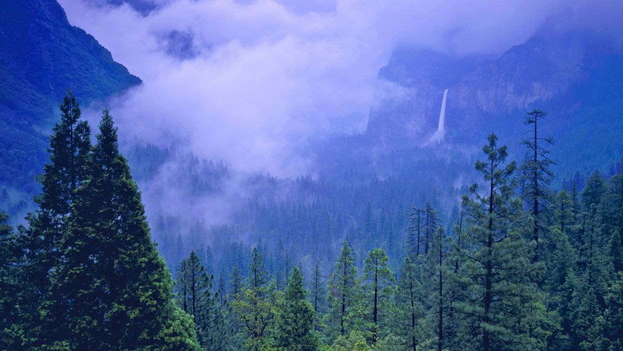 storm valleys spring California Yosemite National Park wallpaper