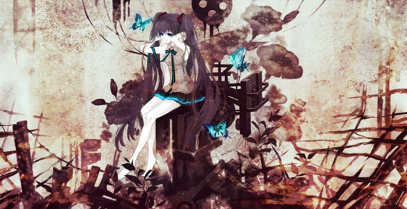 brunettes Vocaloid flowers Hatsune Miku blue eyes skirts long hair brown ribbons plants barefoot twintails bows sitting butterflies wallpaper