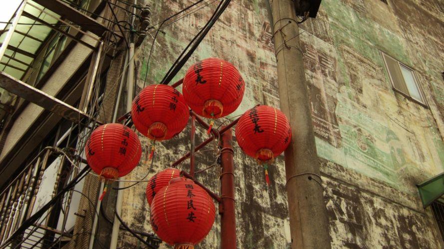 cityscapes lanterns wallpaper