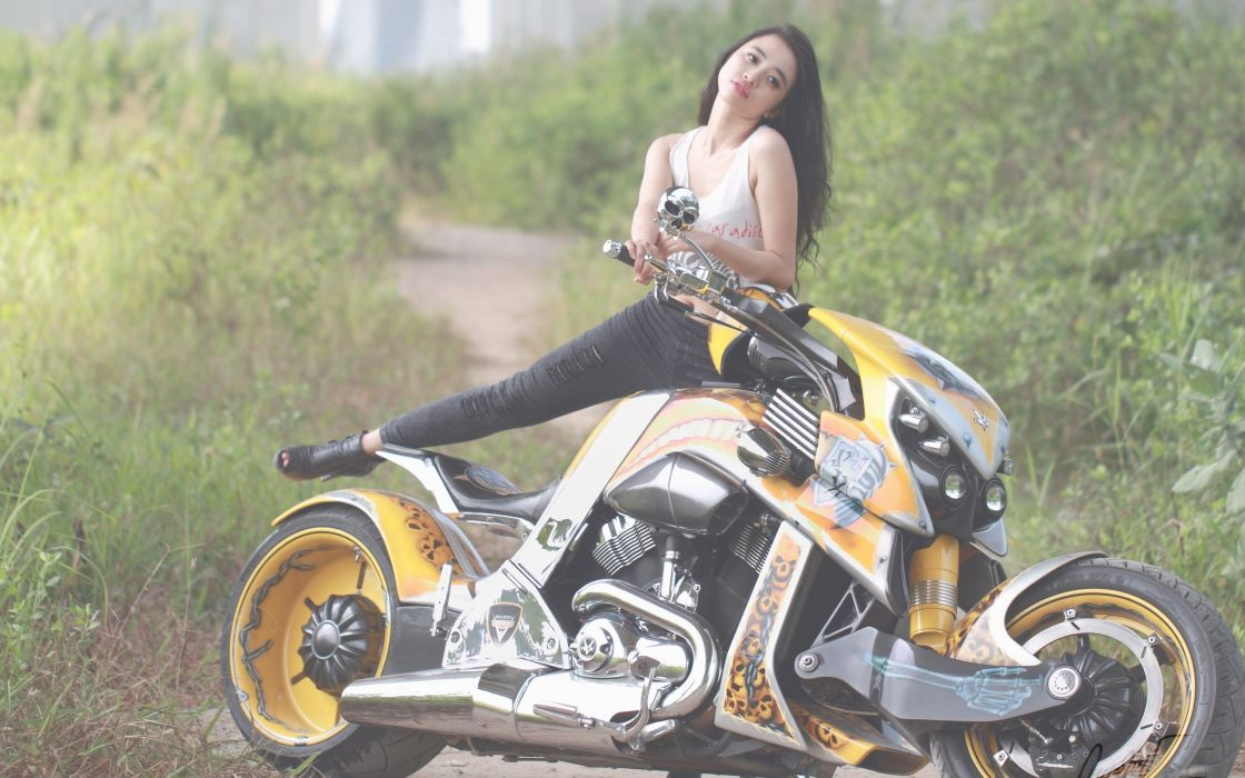 women Asians motorbikes Harley-Davidson wallpaper