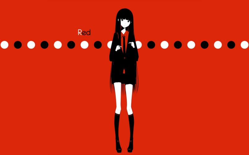 text tie skirts circles long hair shoes shirts selective coloring simple background anime girls red background black clothes original characters knee socks haru@ wallpaper