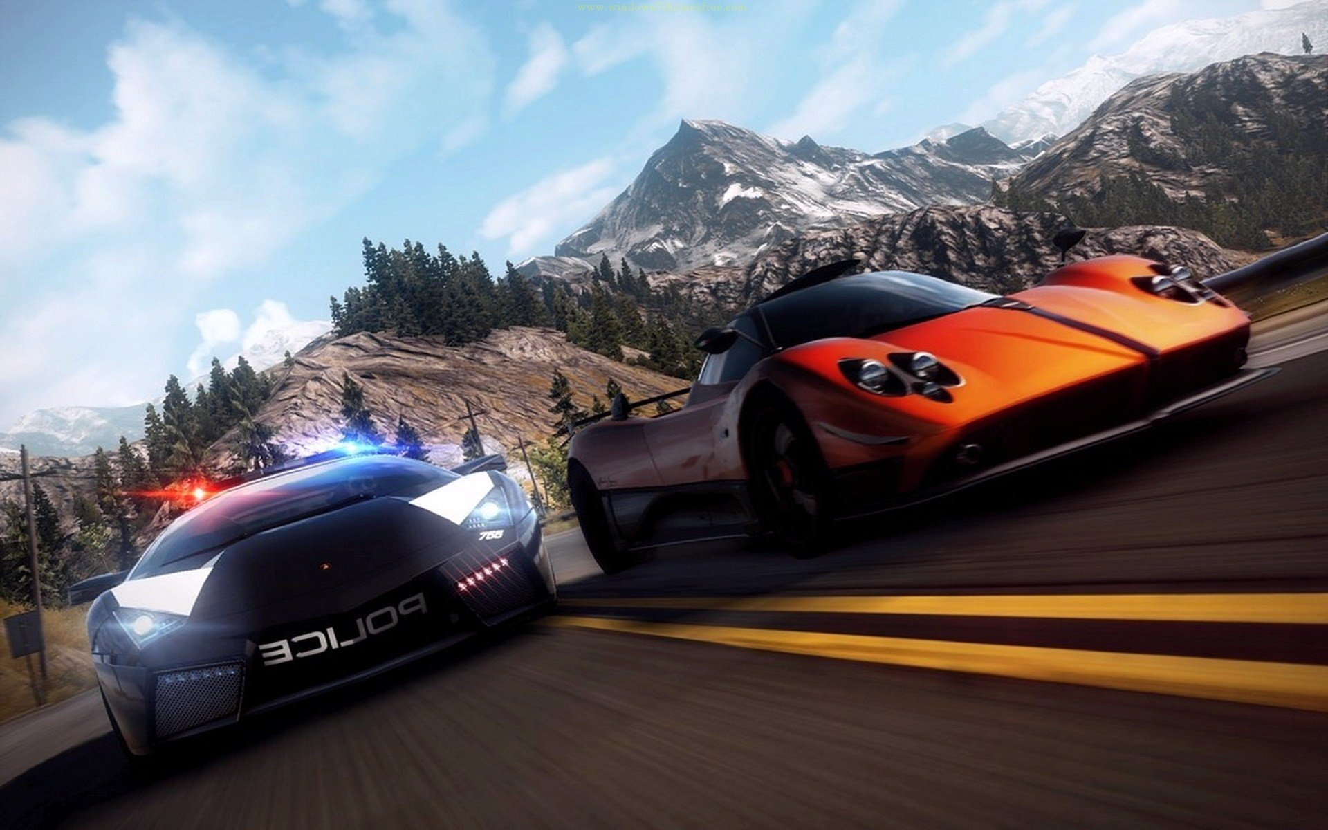 Video games mountains cars police Need for Speed roads ...