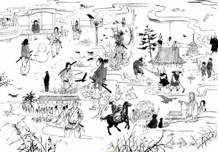 Vagabond grayscale manga wallpaper