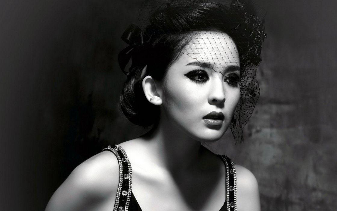 brunettes women black and white models Asians monochrome wallpaper