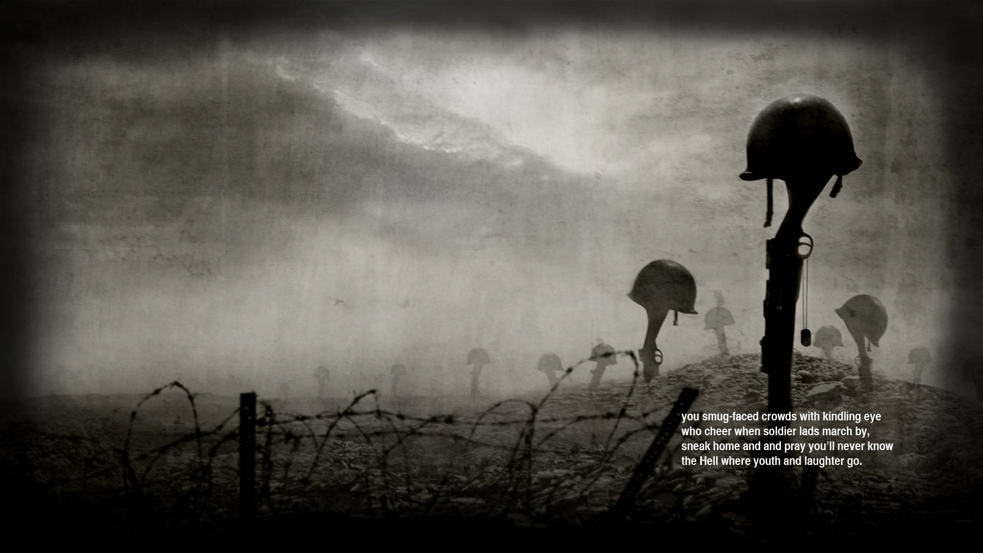 War Guns Quotes Helmets Poetry Siegfried Sassoon Wallpaper