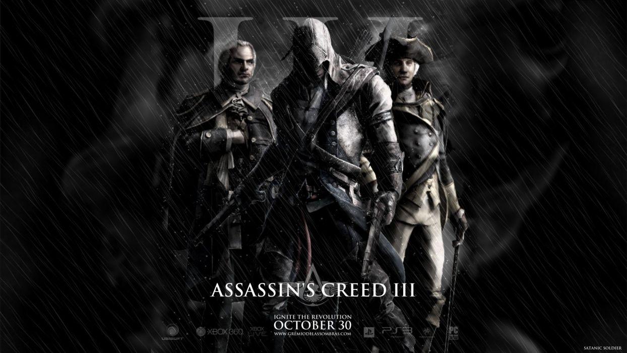 video games Assassins Creed rain soldier revolution Assassins Creed 3 satanic wallpaper