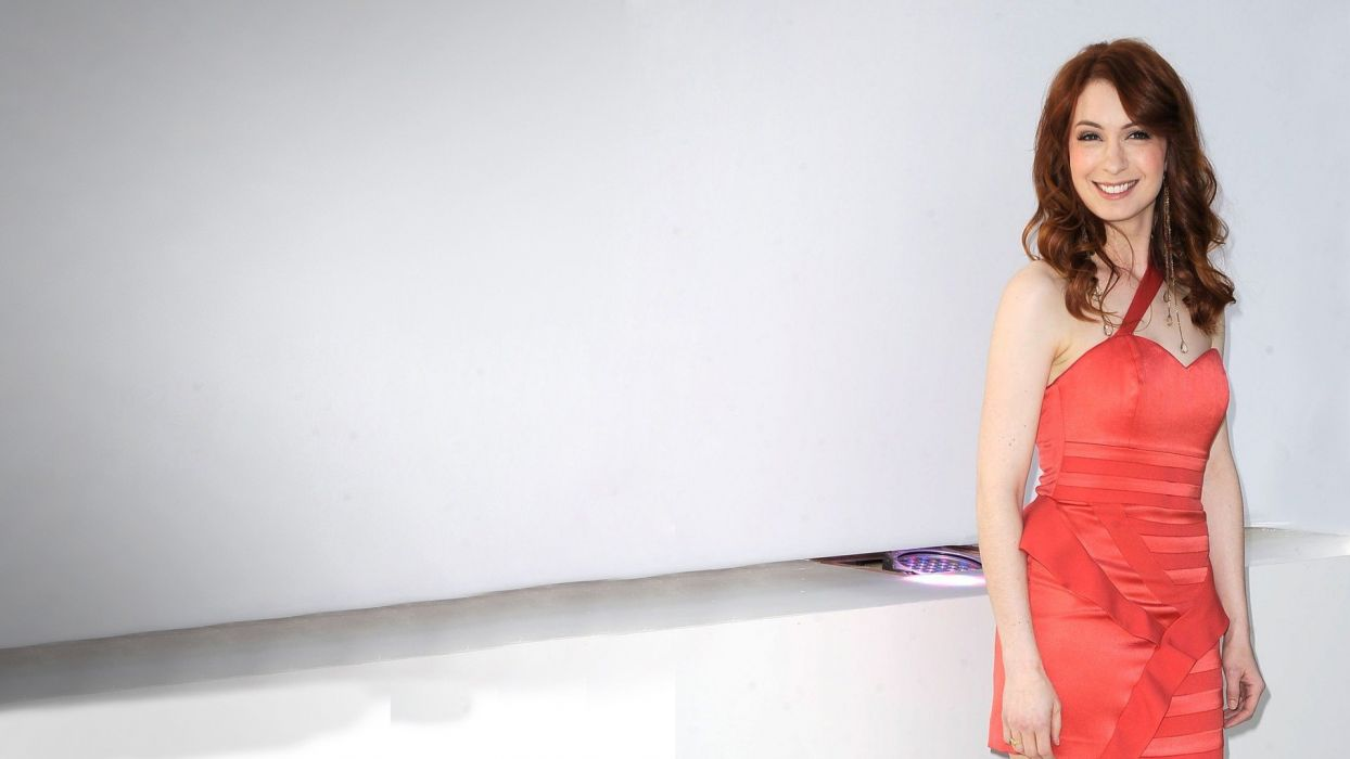brunettes women actress Felicia Day smiling red dress white background gingers wallpaper
