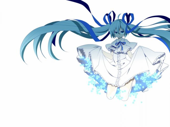 Vocaloid dress white Hatsune Miku long hair ribbons twintails simple background anime girls wallpaper