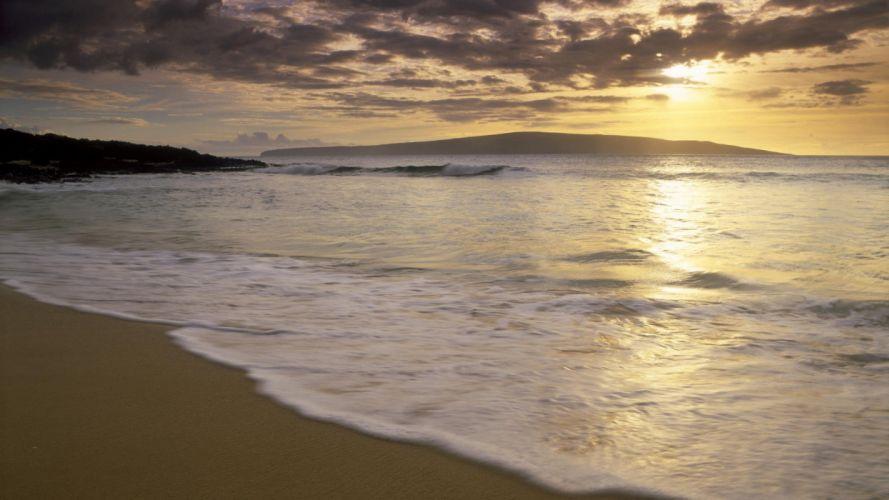 sunset Hawaii little beaches wallpaper