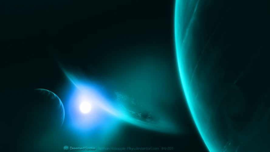 blue outer space artwork space scenes wallpaper