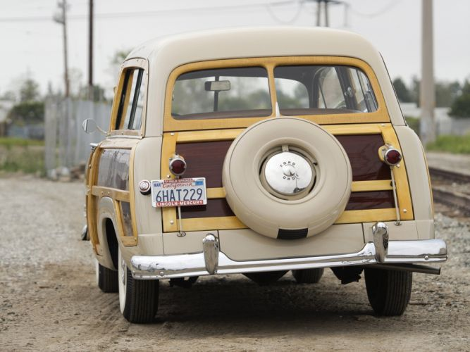 1950 Ford Custom DeLuxe Country Squire retro woody stationwagon wheel f wallpaper