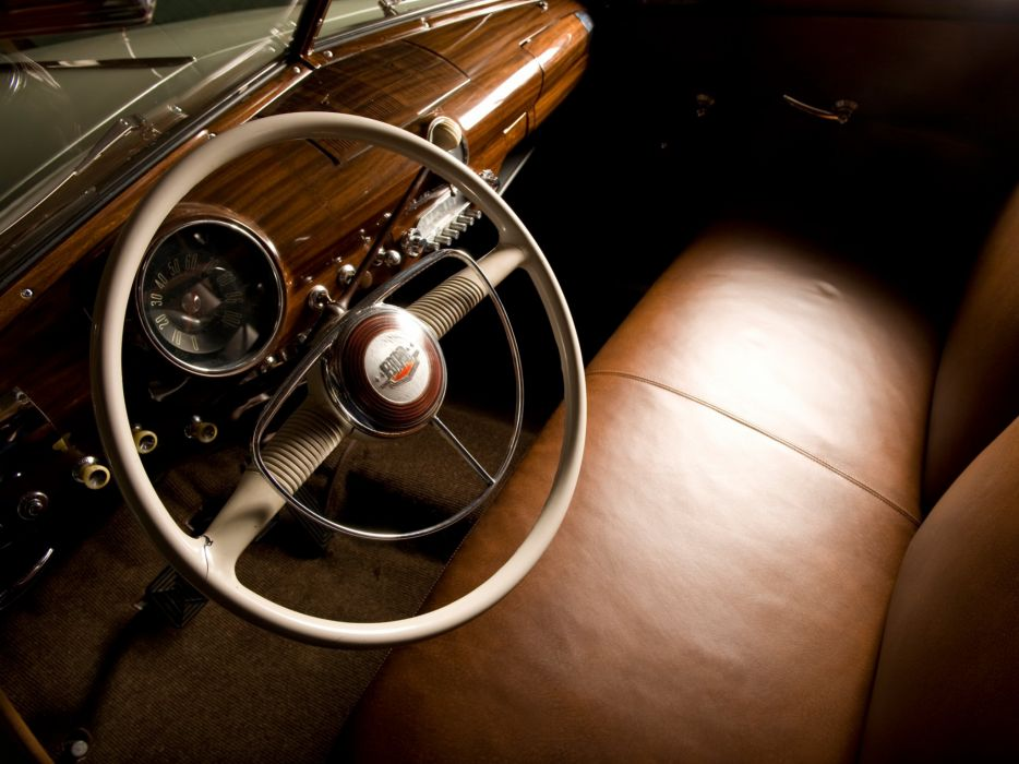1950 Ford Custom DeLuxe Country Squire retro woody stationwagon interior     f wallpaper